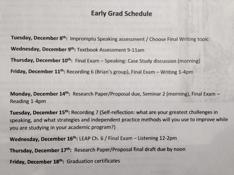 Early grad schedule